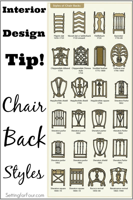 I love this Decor Tip on chair back styles!: Learn the AGE of a chair by the style of it's back! Good to know so you DON'T OVERPAY at auctions and antique stores!