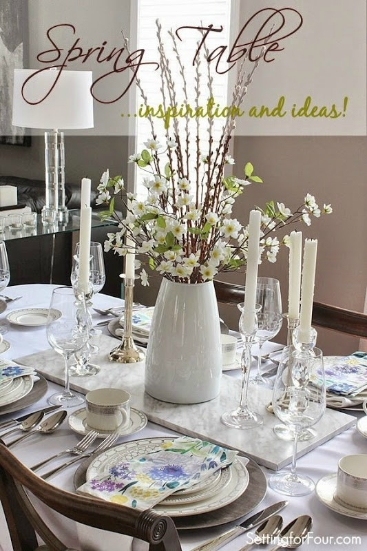 Spring table decor ideas setting for four - Dining table setting ideas ...