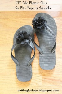 DIY Flower Clips for Flip Flops & Sandals. See the easy DIY fashion tutorial to make these beautiful flower clips! Make them in different colors. They are removable, a quick way to dress up your sandals and give them a new look season after season! Beautiful bride and bridesmaid flip flop idea for beach weddings!