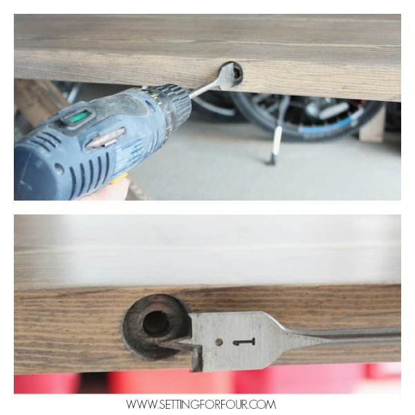 DIY Restoration Hardware Inspired Farmhouse Table - How to drill and add lag bolts to the side of a table. See these helpful DIY instructions and supply list!