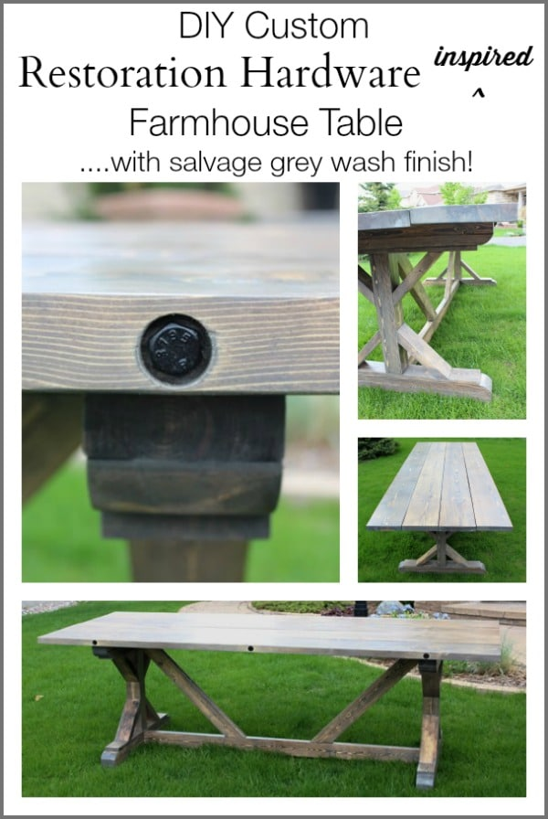 Make this DIY Restoration Hardware Inspired Table with Salvage Grey Wash Finish - for under $200! This is a custom design too! #3MDIY #3MPartner