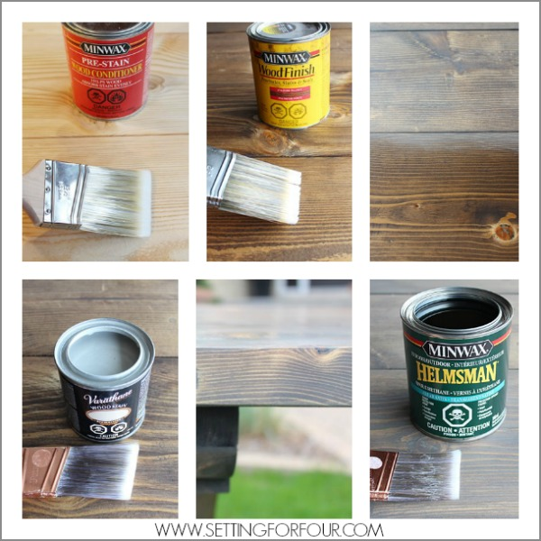 DIY Dining Table with Dark Walnut Stain and Grey Wash Finish for a salvaged look! See the instructions and supply list to stain wood a gorgeous weathered gray color!