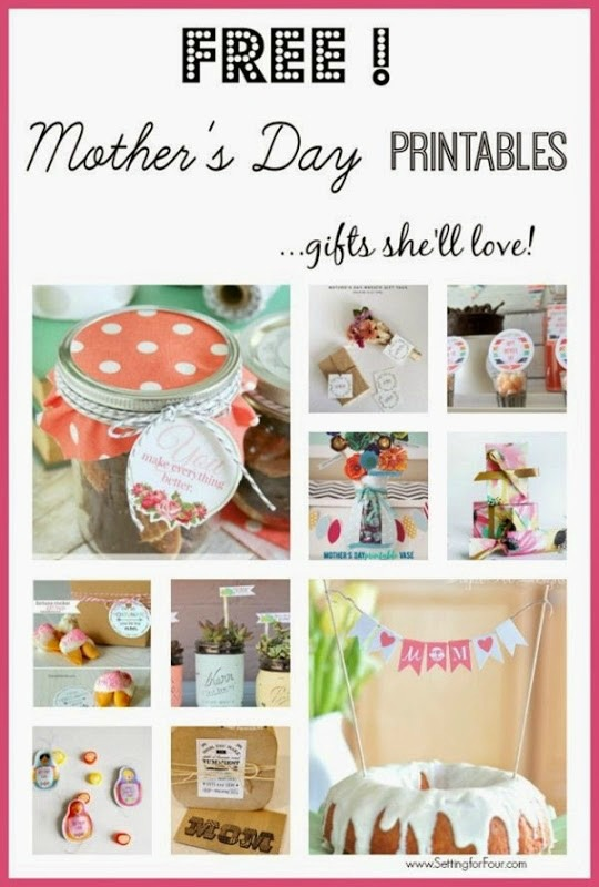 Free mothers day printable gift ideas setting for four for Gifts she ll love