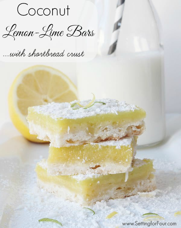 Yummy Coconut Lemon-Lime Bars with Shortbread Crust Recipe! #lemon #coconut #shortbread #bar #desserts #recipe #lime #crust #food
