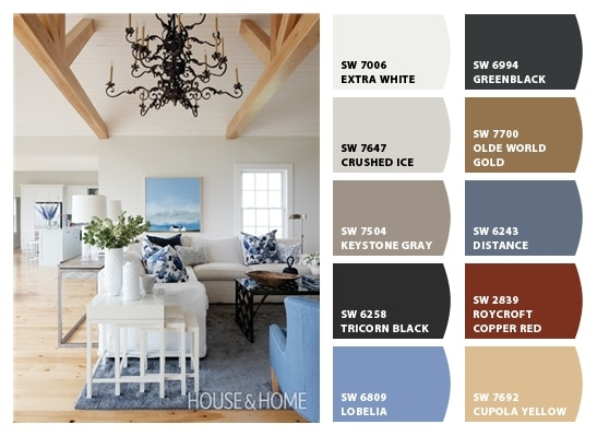 Blue Grey And White Living Room Color Palette Setting For Four