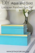 DIY Home Decor: Aqua and Gold Lacquer Paint Box Set