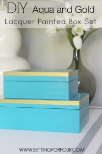 DIY Aqua and Gold Lacquer Painted Box Set