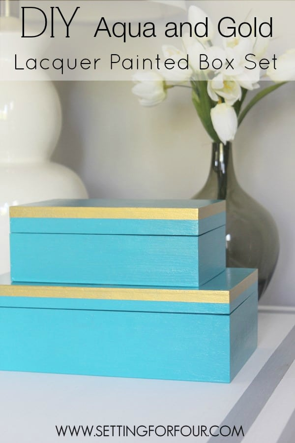 A DIY home organization idea and a stylish storage solution: Make this easy Aqua and Gold Lacquer Paint Box Set to add a pop of color to your home decor! Use these beautiful decorative boxes to store TV remotes, jewelry, sunglasses, pet leashes, receipts, office supplies and more! See the step-by-step tutorial to turn plain wooden boxes into fashion for your home!