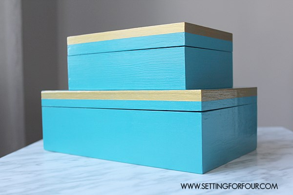 Easy to Make DIY Wood Box Set - love the coastal blue paired with Metallic Gold!