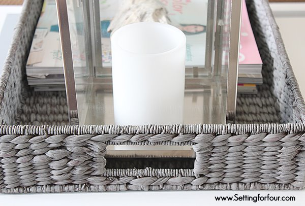 How to paint a tray with a grey wash finish for a weathered, beach inspired look! It's an easy and quick DIY Decor Idea!