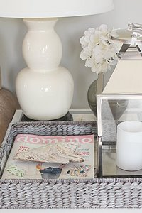 DIY Home Decor Idea:  Paint a tray with a grey wash finish for a weathered, beach inspired look! Trays are fabulous for storing, organizing and styling rooms, update one in this distressed gray color.er