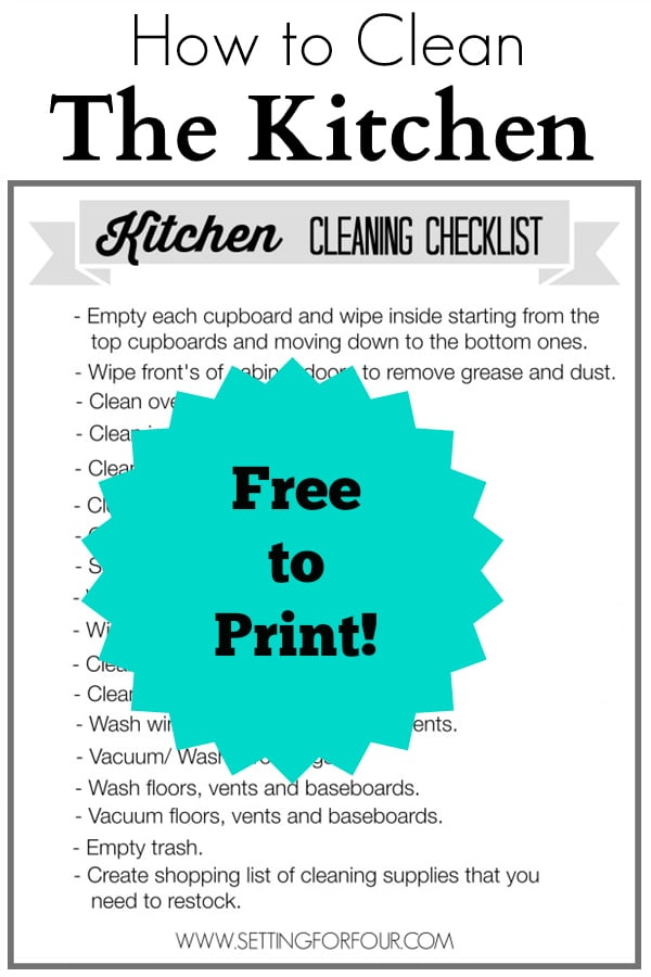 How to Clean the Kitchen! Free Printable Cleaning Checklist with Cleaning Tips for a Spic and Span Kitchen! #ad