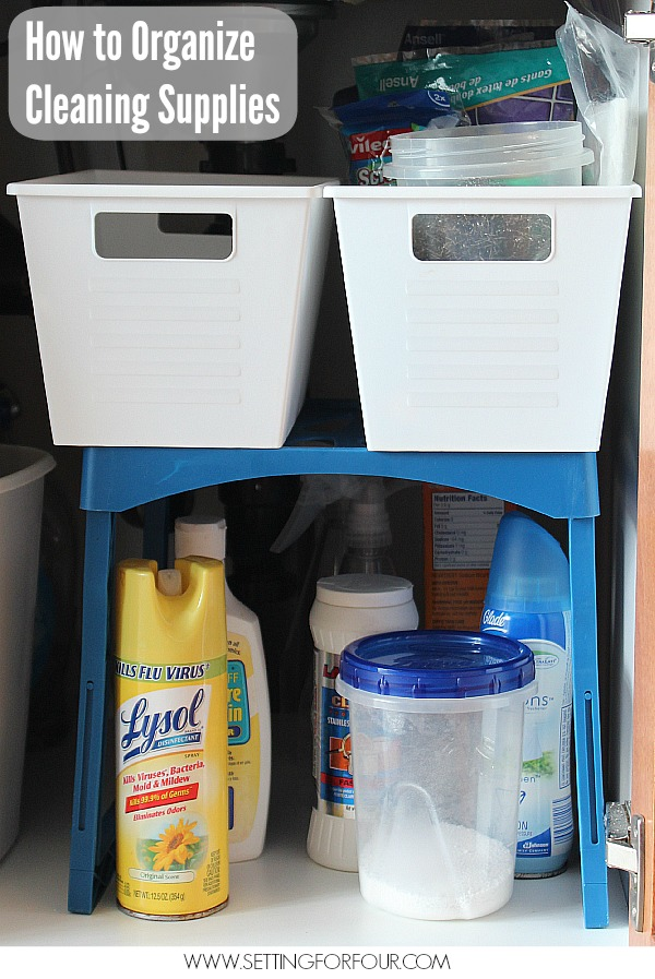 Kitchen Cleaning and Storage Tips: How to Organize your Cleaning Supplies under the sink with a school locker shelf! Get all of the helpful cleaning tips and Free Cleaning Checklist Printable at Setting for Four