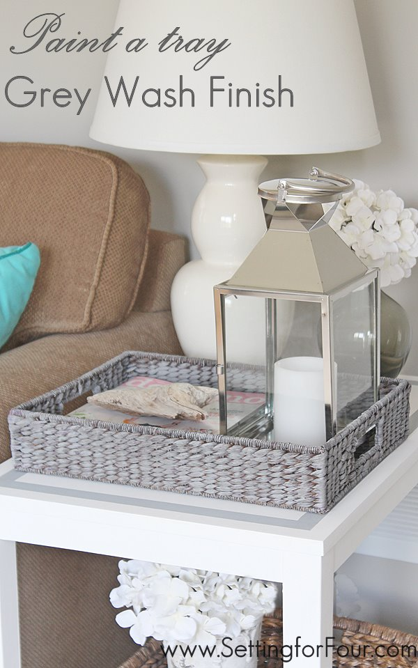 Get on trend and paint a tray with a grey wash finish for a weathered, beach inspired look! It's so easy and quick!