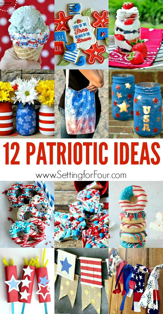 12 amazing Patriotic Decor, DIY's, Craft projects and recipes! www.settingforfour.com