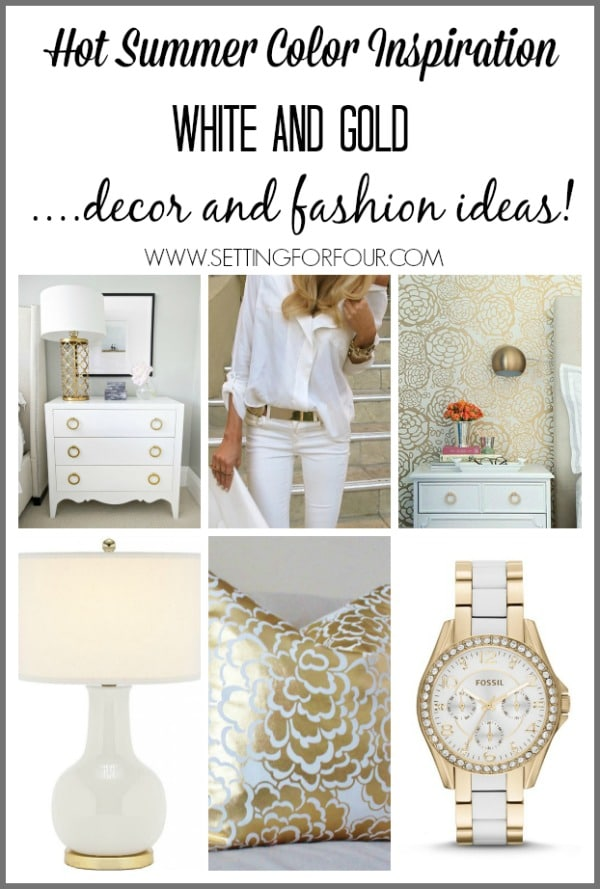 Hot summer color inspiration! White and Gold Home Decor and Fashion ideas.