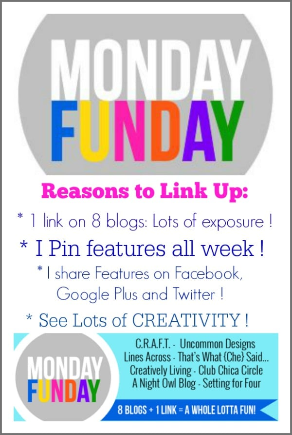 Join the Monday Funday Link Party to see lots of inspiration and promote your projects! #MondayFundayParty