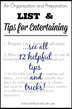 Organization and Preparation List: Tips for Entertaining