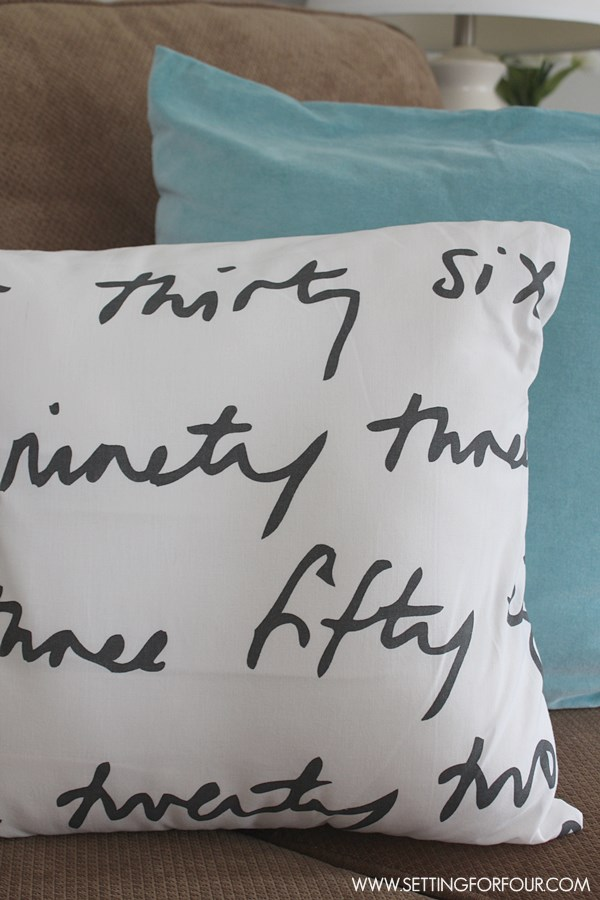 DIY Five Minute Pillow Cover to Make #QuickandEasy