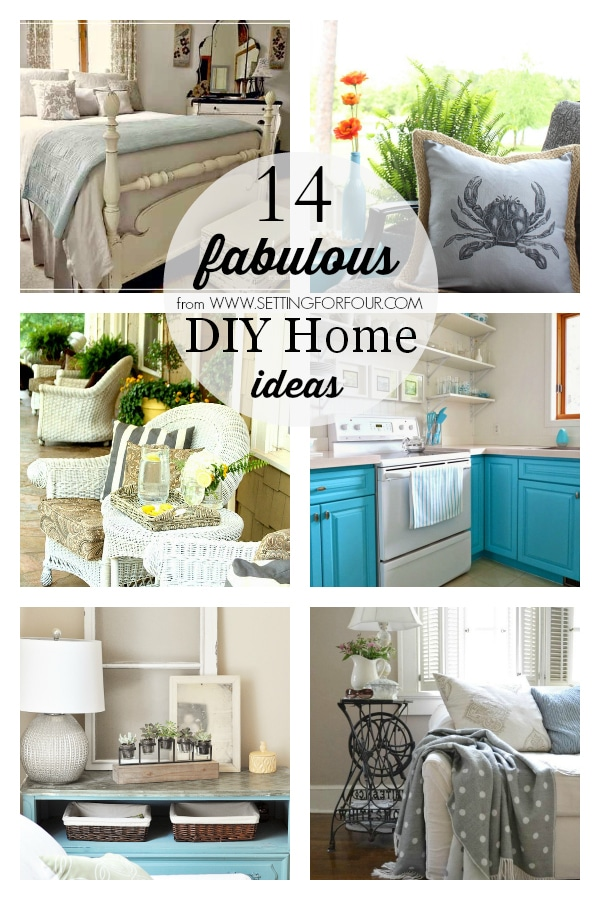 14 Fabulous DIY Home Ideas to make for your home! DIY coastal pillow, turquoise painted kitchen cabinets, summer shabby cottage decor,  eclectic cottage living room decor ideas, potting bench makeover, master bedroom makeover, summer porch decorating ideas, Adirondack chair seating area, summer cabana deck, DIY backyard makeover, how to decorate above your kitchen cabinets, back porch seating area, coastal mantel and an upcycled beverage station DIY.