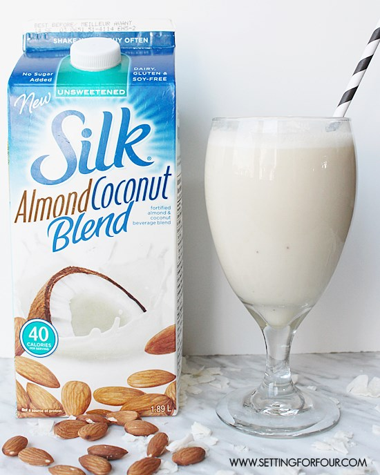 Almond Banana Coconut Smoothie made from Silk Coconut Blend! #SilkSmoothies