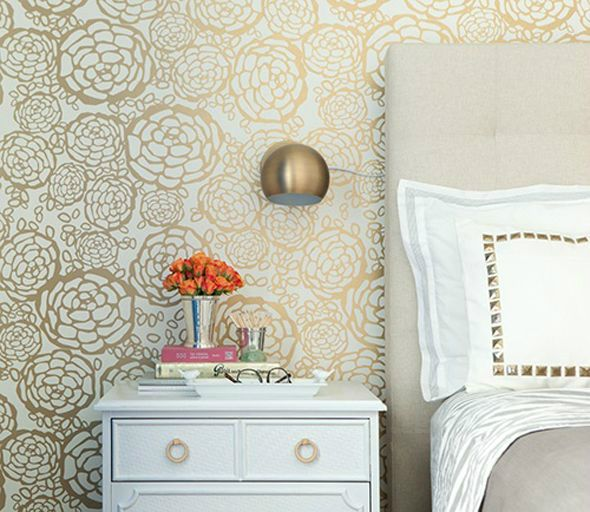 White and Gold Wallpaper adds fun and sophistication to this bedroom!
