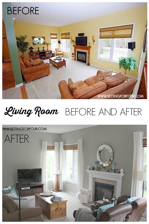 Living Room Before and After Makeover !