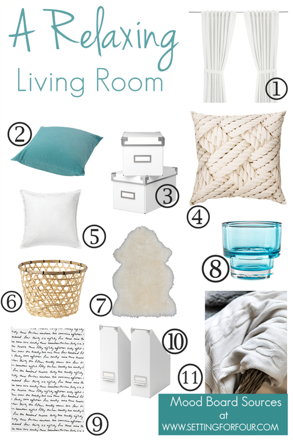 Get the look! Mood Board and Resource List for this IKEA #QuickandEasy Living Room Makeover.