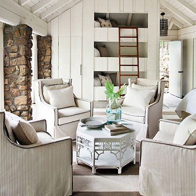 lake house cottage decor - setting for four