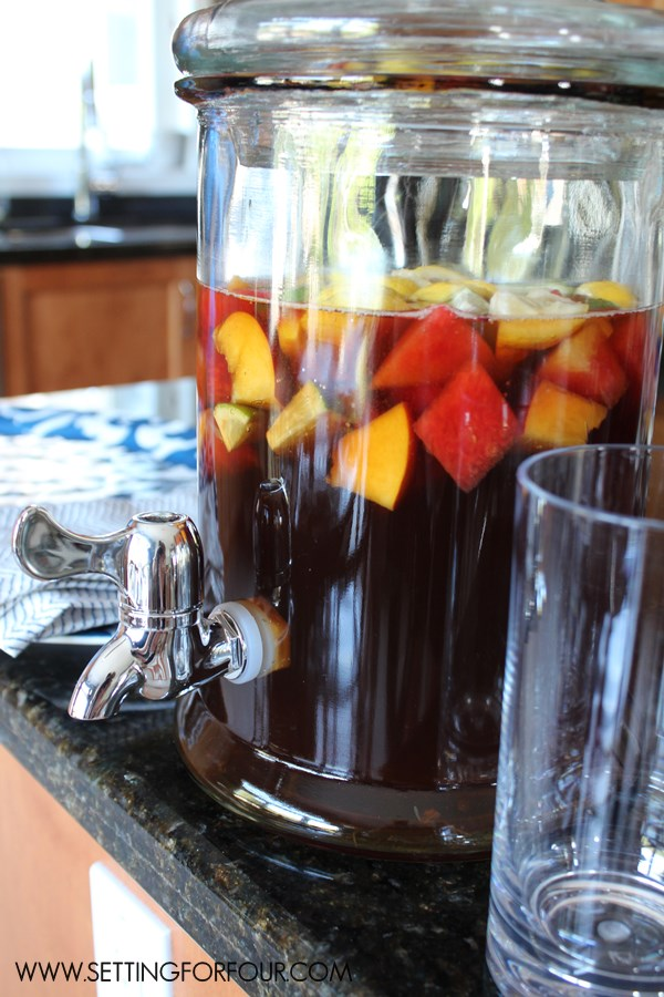 Party Drink Dispenser filled with yummy Lemon Blueberry Pomegranate Ice Tea.