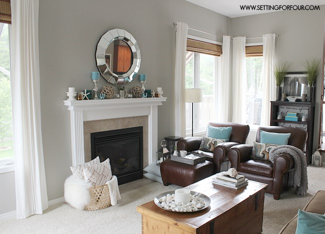 Mantel Decor Ideas : Blue, Taupe And White Palette