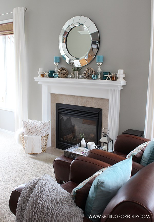 Mantel Decor Ideas : Blue, Taupe and White Palette - Setting for Four