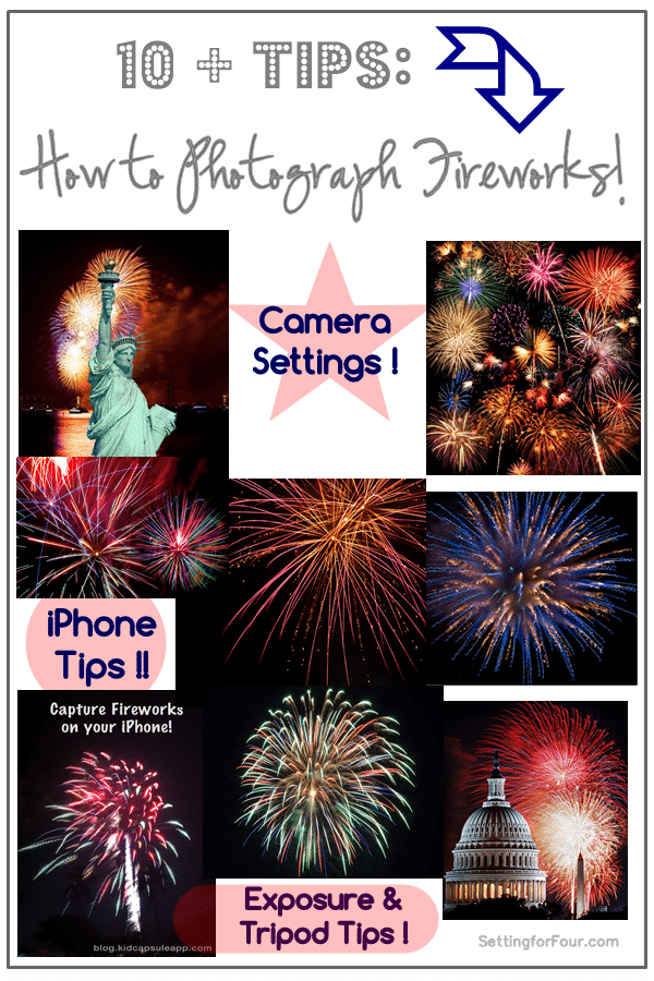 10 + Tips - How to Photograph Fireworks with your iphone and camera! For the July Fourth, Memorial Day and New Years Eve!