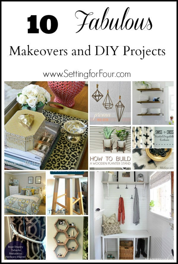 10 Beautiful Decor Makeovers and DIY Projects like a DIY tray, DIY prisms, honeycomb shelves, bedroom makeover, foyer decor and more!