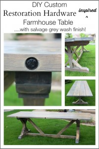 DIY Restoration Hardware Inspired Farmhouse Table – with Bolted Plank Top
