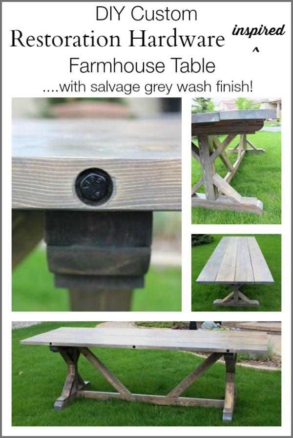 DIY Restoration Hardware Inspired Wood Table| www.settingforfour.com