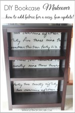 DIY Home Decor Idea: Looking for a quick and easy way to give your standard bookcase a stylish update? See the tutorial for this clever DIY Bookshelf Makeover with Fabric!