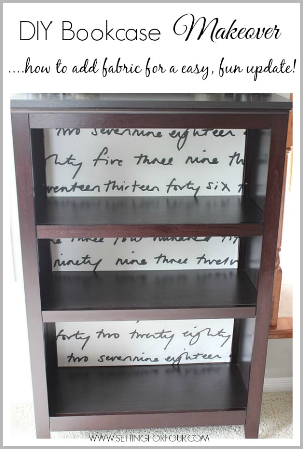 Looking for a quick and easy way to give your standard bookshelf a stylish update? DIY Bookcase Makeover with Fabric!