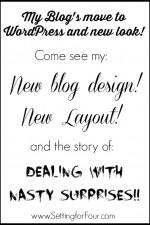 See Setting for Four's new look – new blog design & dealing with nasty surprises!