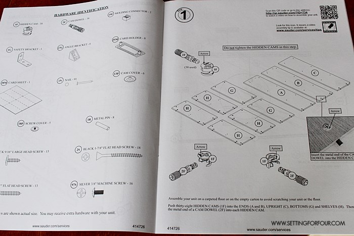 Easy to follow instructions to assemble a Sauder Bookcase.