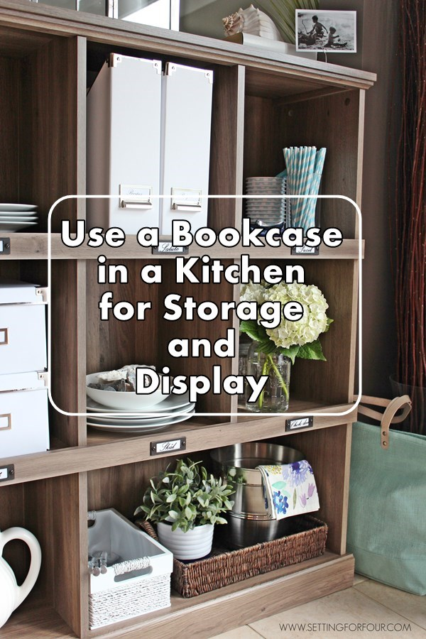 Repurposing Tip! Use a Bookcase in a Kitchen for Storage and Display | www.settingforfour.com