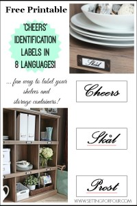 Free Pintable 'Cheers' Labels for your storage boxes and shelves!