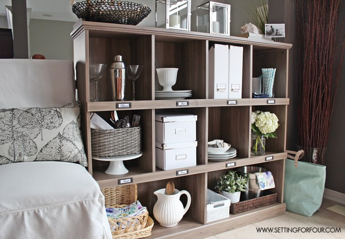 Add extra storage to a kitchen with a bookcase! I love the salt oak finish.