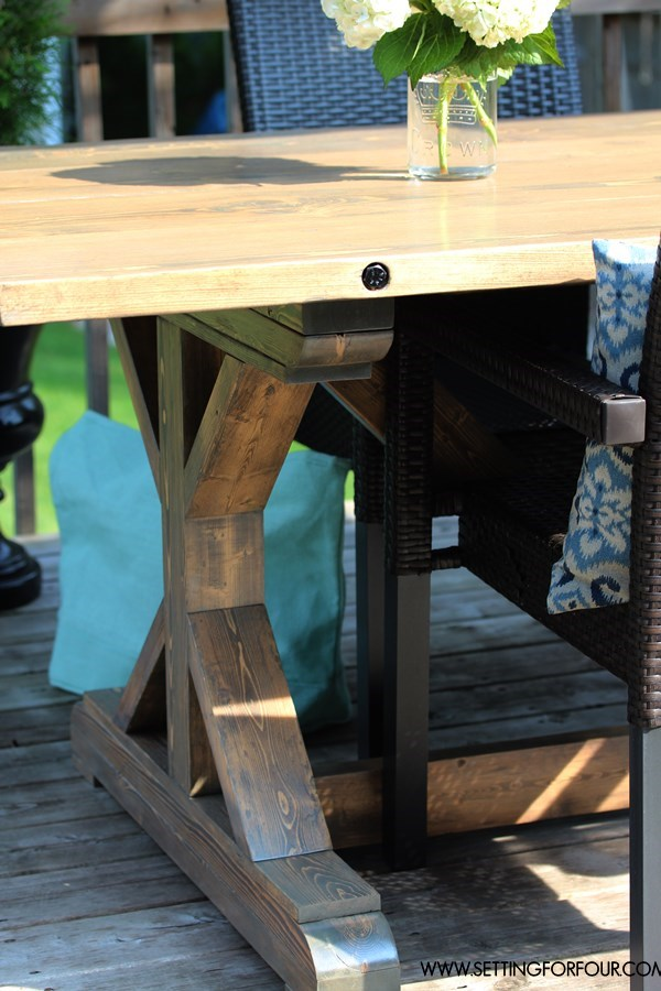DIY Restoration Hardware Table with grey wash finish for a salvage look! You can make this stunning farmhouse style wood table for less than 200 dollars! Plan instructions and supply list included!