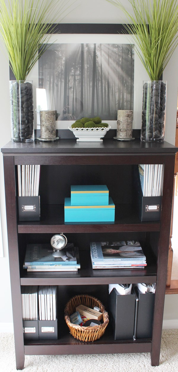 Make over a Shelving Unit with fabric - quick and easy!