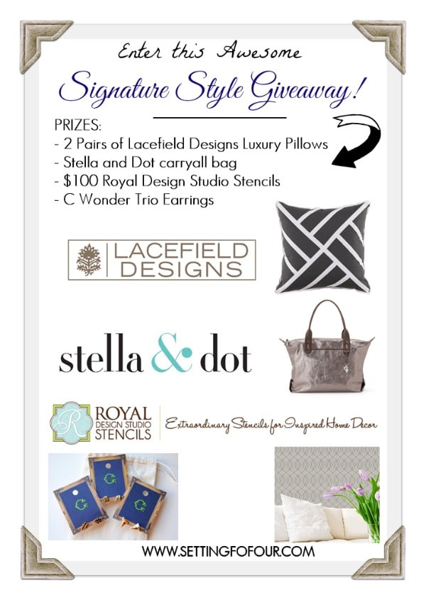 Enter this fun Signature Style Giveaway: Luxury Pillows, carryall bag, stencils and more! | www.settingforfour.com