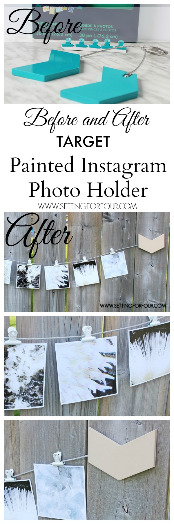 DIY Dorm Room Decor Idea! Make this Easy and Quick Painted Instagram Photo Holder for a dorm room or your home. Hang your Instagram photos and old Polaroids from it for beautiful wall decor!