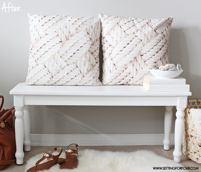 Painted Bench Makeover - a simple DIY! | www.settingforfour.com