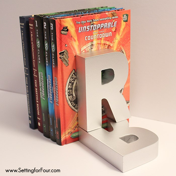So inexpensive and fun to make for the kids! DIY $3.00 Monogram Industrial Zinc Book Ends