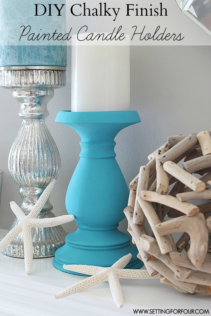 DIY Chalky Finish Painted Candle Holders | www.settingforfourcom